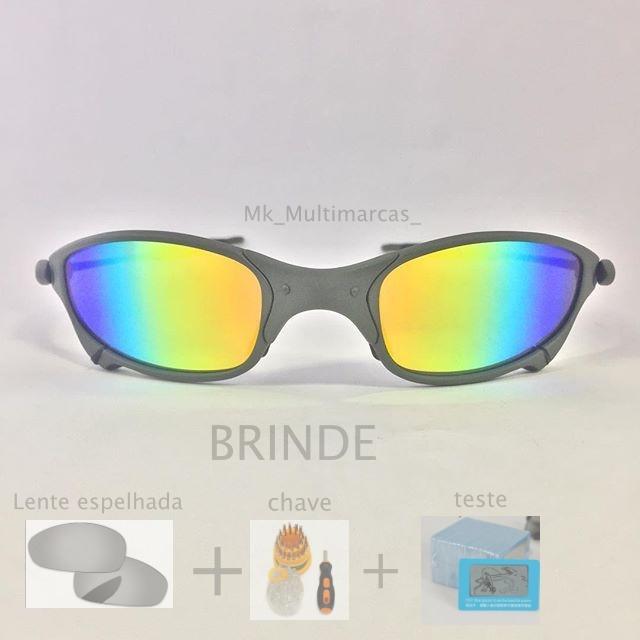 Oculos Oakley Juliet Arco-iris Lente Brilho Reto +lente+chav - R ... eb4e18dd4b4