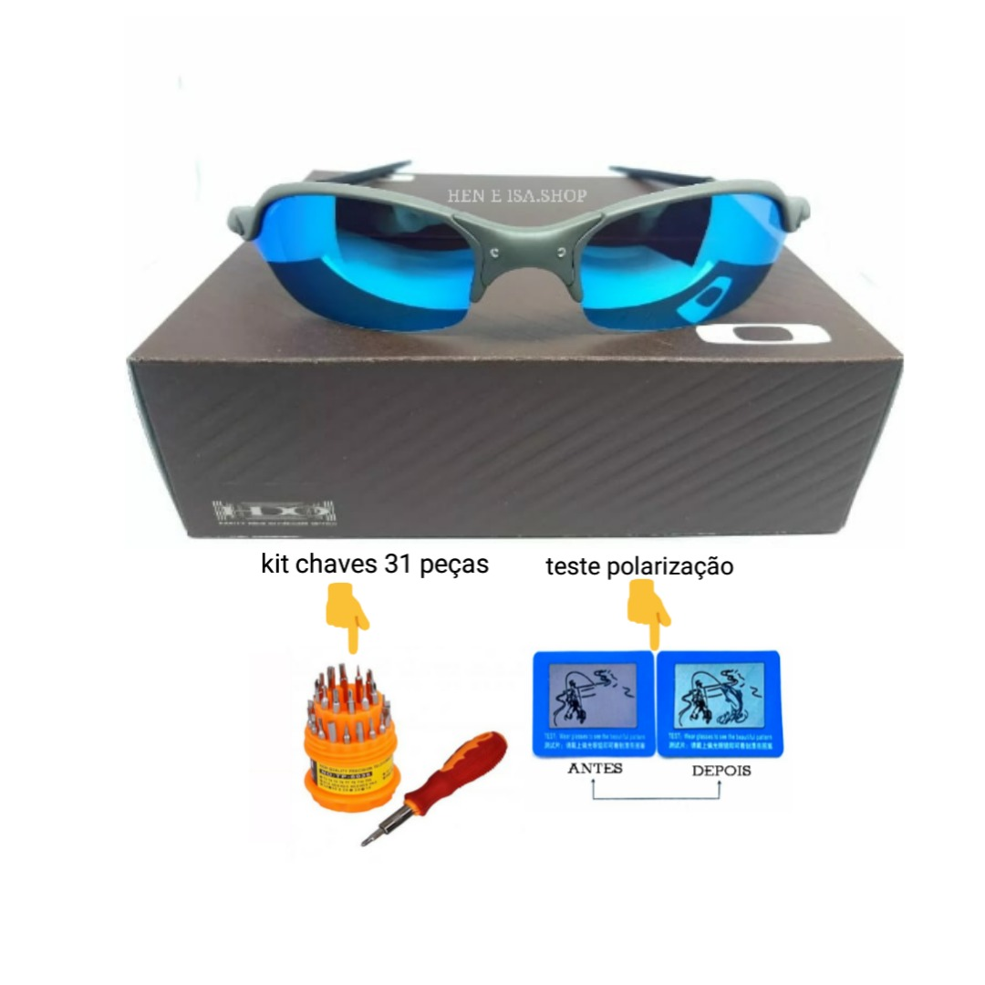 09e776c43653a Oculos Oakley Romeo 2 Azul Bebe +teste+chaves+frete - R  120