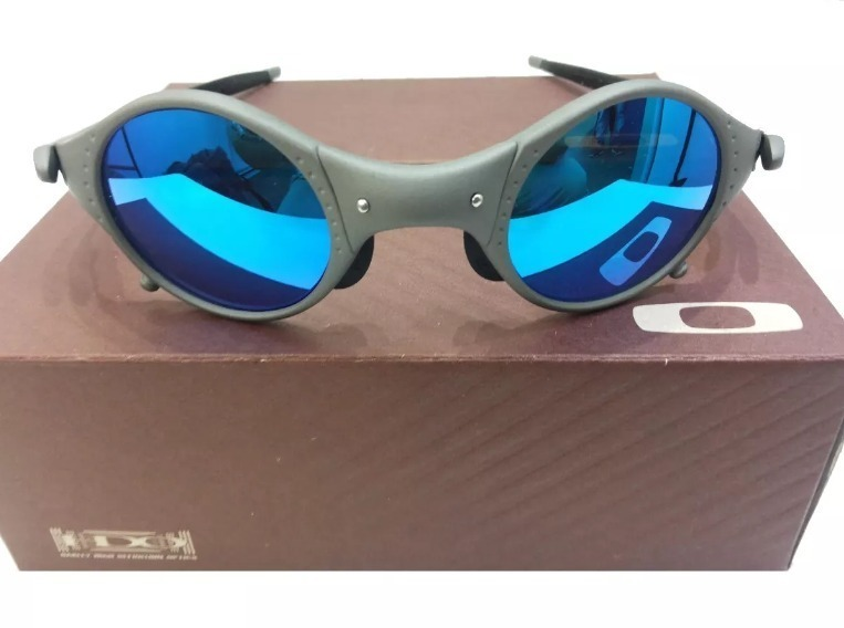 321166edb Oculos Oakley Top Promoção 12x Cinza Medusa Blue Cx + Saquin - R ...