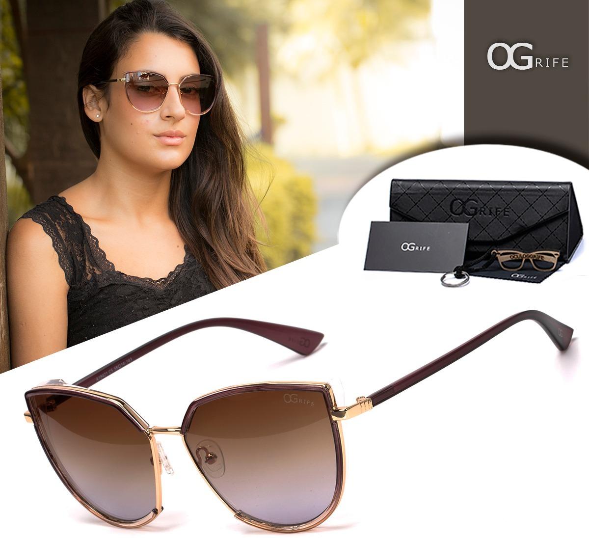 Oculos Ogrife Solar Feminino Og 1166-c Proteção Uv Original - R  90 ... cfc5fdfa0e
