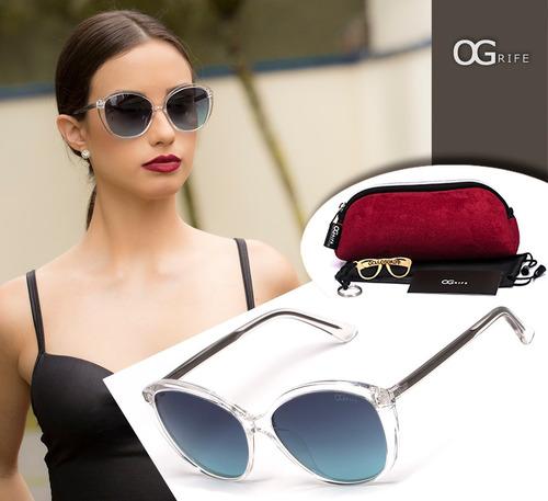 oculos ogrife solar feminino og 1429-d proteção uv original