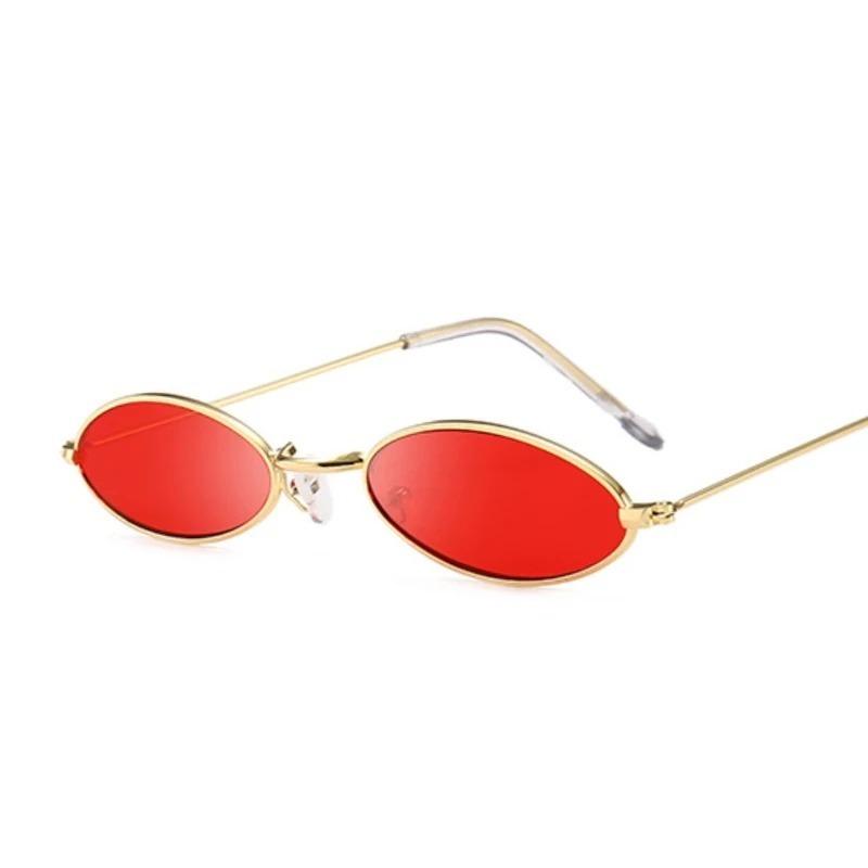 010ba386e oculos oval fino de sol pequeno lente vermelha estiloso. Carregando zoom.