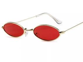 4e27c61a1 Óculos Oval Redondo Pequeno Trap Hype Retro Vermelho Preto
