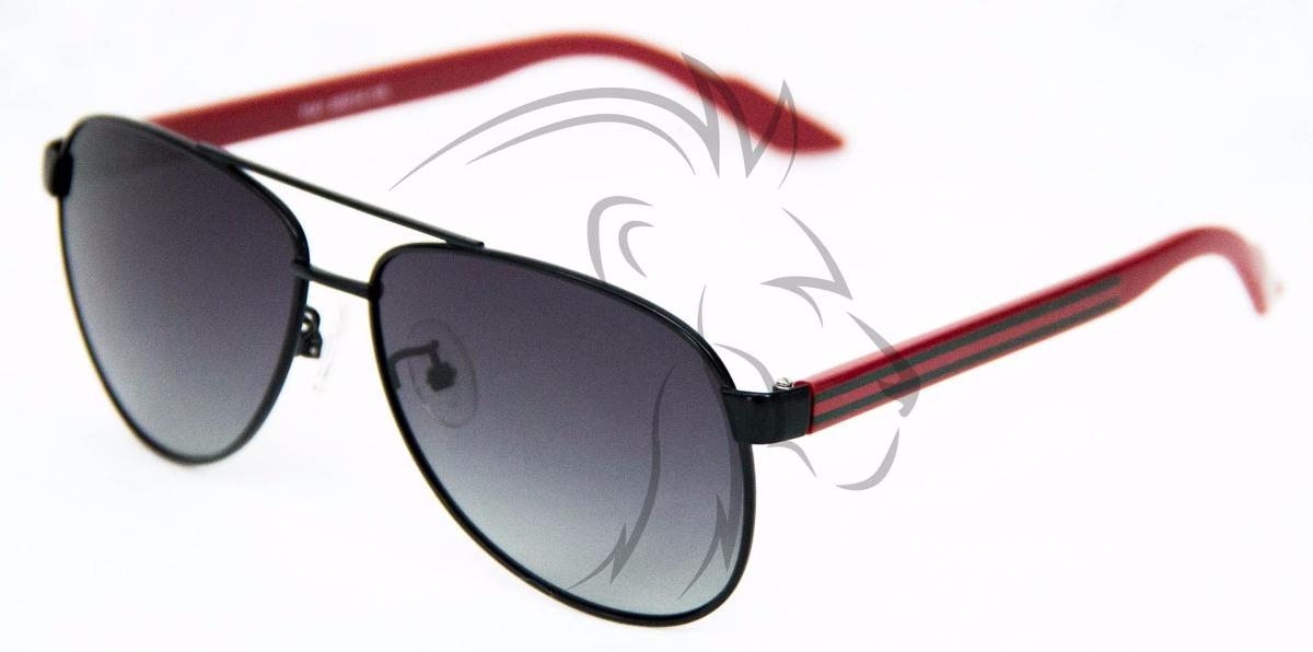 273cffcda Óculos Piloto Masculino Preto Vermelho Lentes Polarizadas. - R$ 121 ...