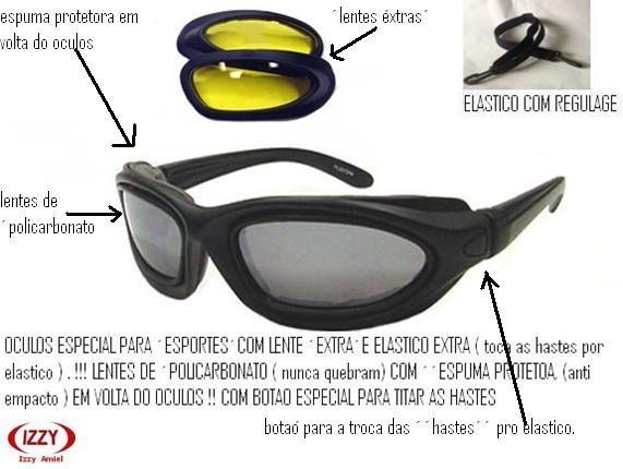 ac5156dba Oculos Pratica De Esportes Lentes Extras E Cordão - R$ 150,00 em Mercado  Livre