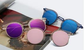 5a5d09b53 Oculos De Sol Feminino Espelhado Redondo Azul - Óculos De Sol ...