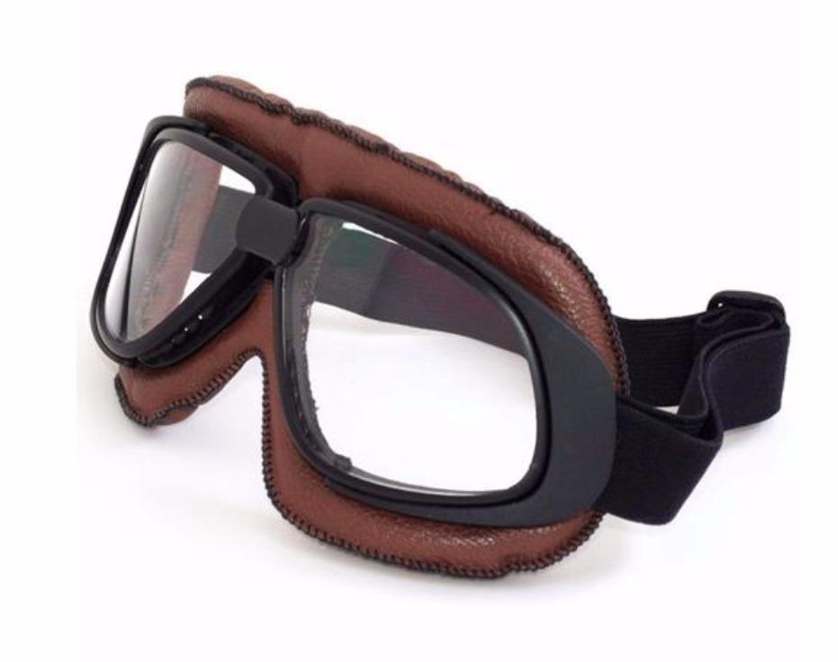 óculos proteção café racer aviador marrom lente cristal. Carregando zoom. d287d8a88a