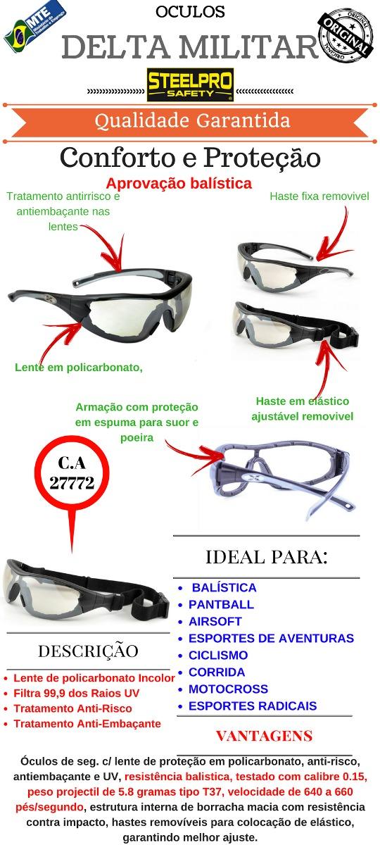 24051387e4b41 óculos proteção delta militar pratica sports   balístico. Carregando zoom.