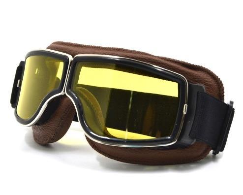 94496fee4285f Óculos Proteção Goggle Vintage Goggles Aviador Moto Amarelo - R  1.000,00  em Mercado Livre