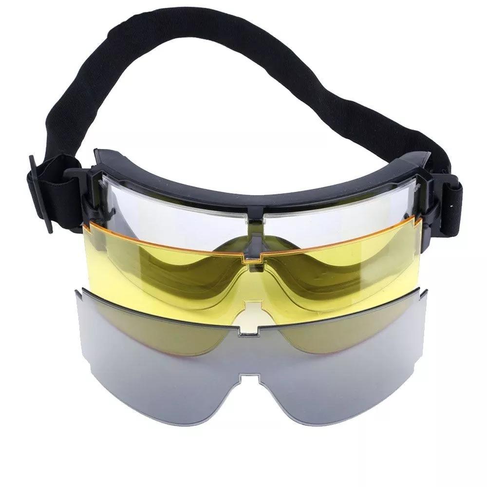 Óculos Proteção Tático Militar Com 3 Lentes X800 - R  130,00 em ... 6606d88f89