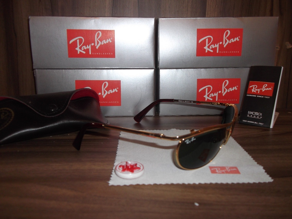 d403fa2d0dfce oculos ray ban 8012 dourado lente verde. Carregando zoom.