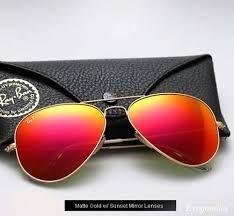 Óculos Ray Ban Armação Dourado Lente Vermelha Espelhado - R  203,00 ... 7ba8497168