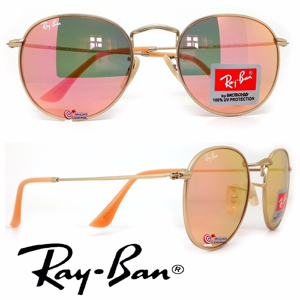 e9649e1bd0721 ... round rosa espelhado + case couro · oculos ray ban. Carregando zoom.