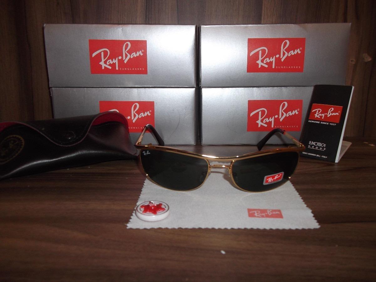 7bf564712dffd Oculos Ray Ban 8012 Dourado Lente Verde - R  197