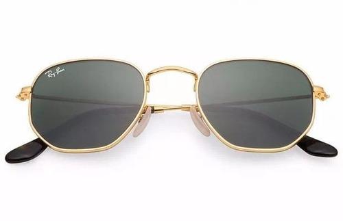 bc39ef4c96d24 Óculos De Sol Ray Ban Hexagonal Dourado   Lente Verde Rb3548 - R ...