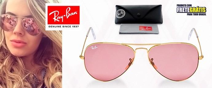 óculos ray ban azul espelhado aviador original + proteção uv. Carregando  zoom. b3169e88f9