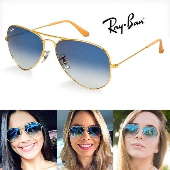 a1aca554331e8 Óculos Ray-ban Aviador Azul Degrade Lentes Cristal Envio 24h - R ...