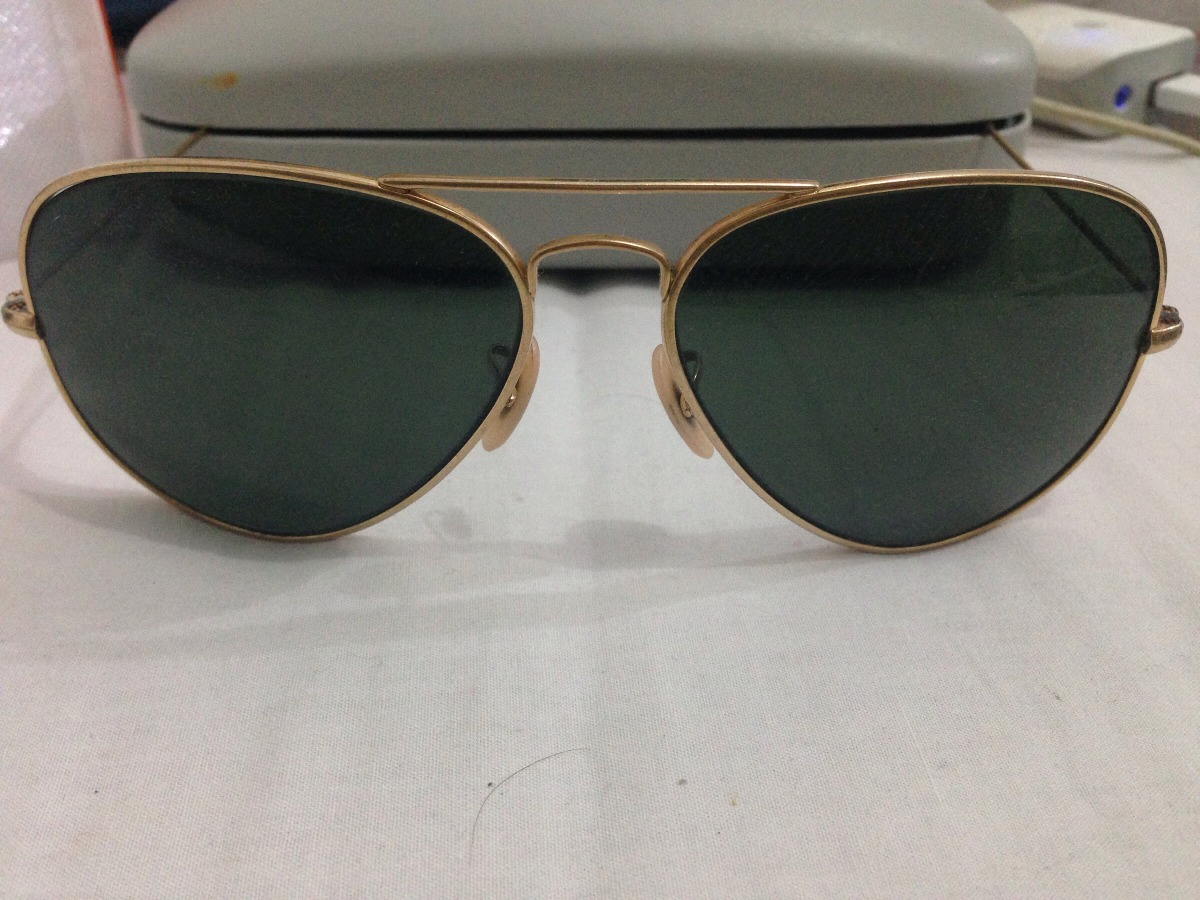 oculos ray-ban aviador br2035-usado orig(dourado verde preto. Carregando  zoom. 5de0db65b3