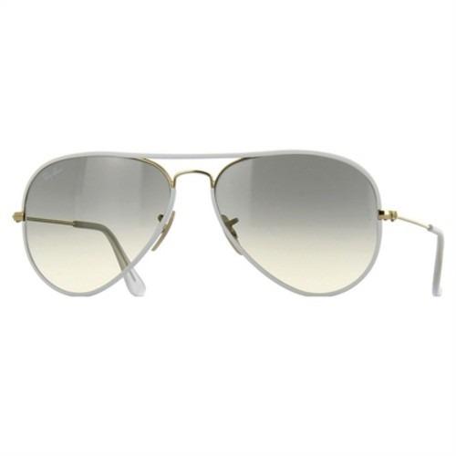 071a0a91e Óculos Ray Ban Aviador Branco Esverdiado 100% Original Frete - R ...
