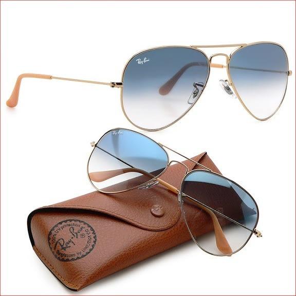 b94be61f0e57e Óculos Ray-ban Aviador Dourado Azul Degrade Original Unissex - R ...