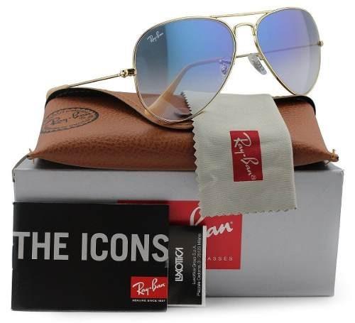 61fd50705 Oculos Ray-ban Aviador Original Azul Degrade Rb3026 Rb3025 - R$ 219,99 em  Mercado Livre