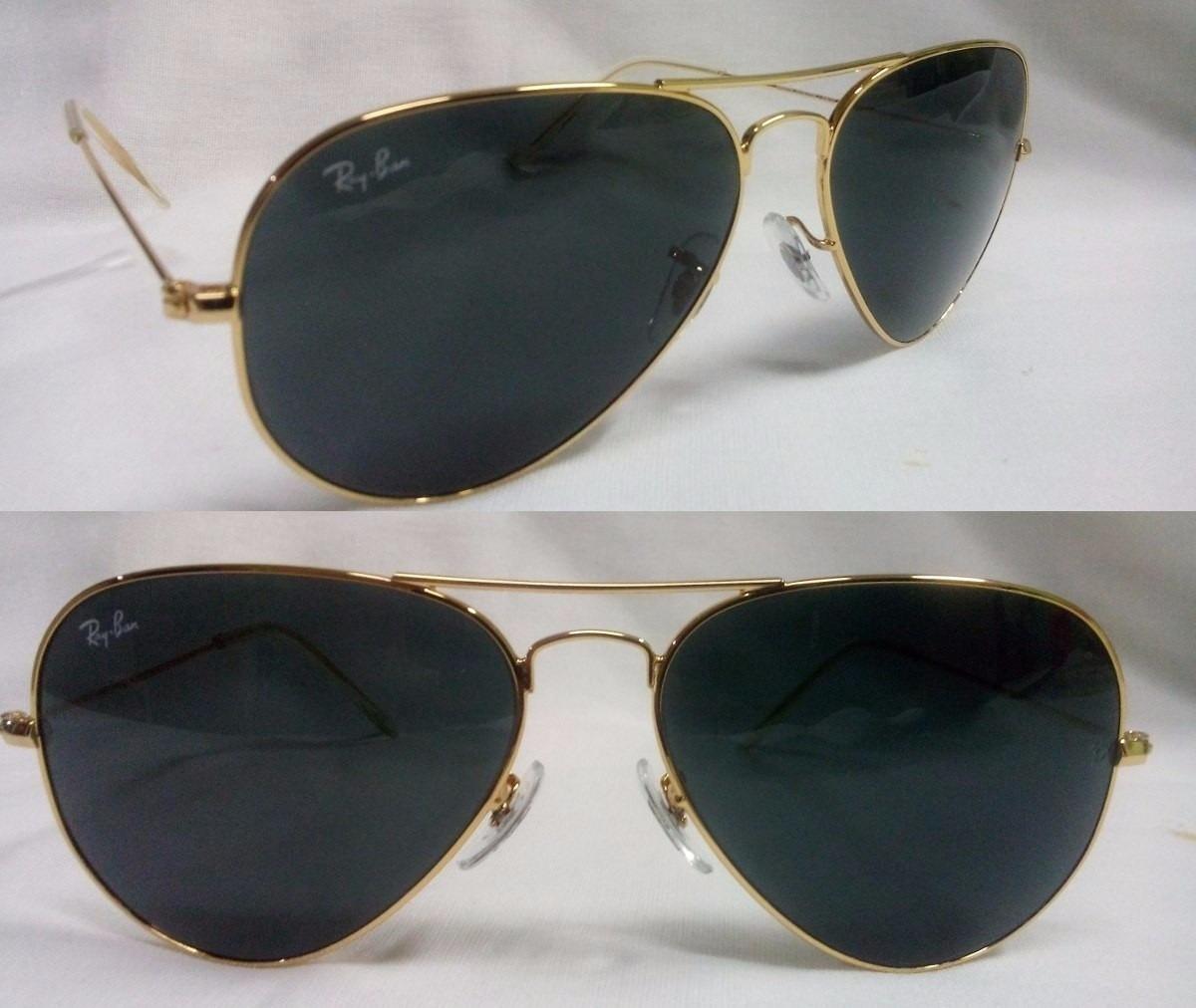 oculos ray ban aviador original lentes preta armação dourada. Carregando  zoom. 586e712680