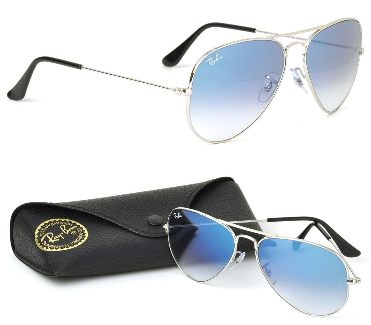 0a1b414db óculos ray-ban aviador prata azul degrade original unissex. Carregando zoom.