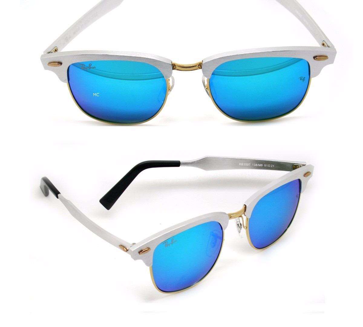 óculos ray ban clubmaster aluminium rb3507 orig. prata azul. Carregando  zoom. f9d77e33fb