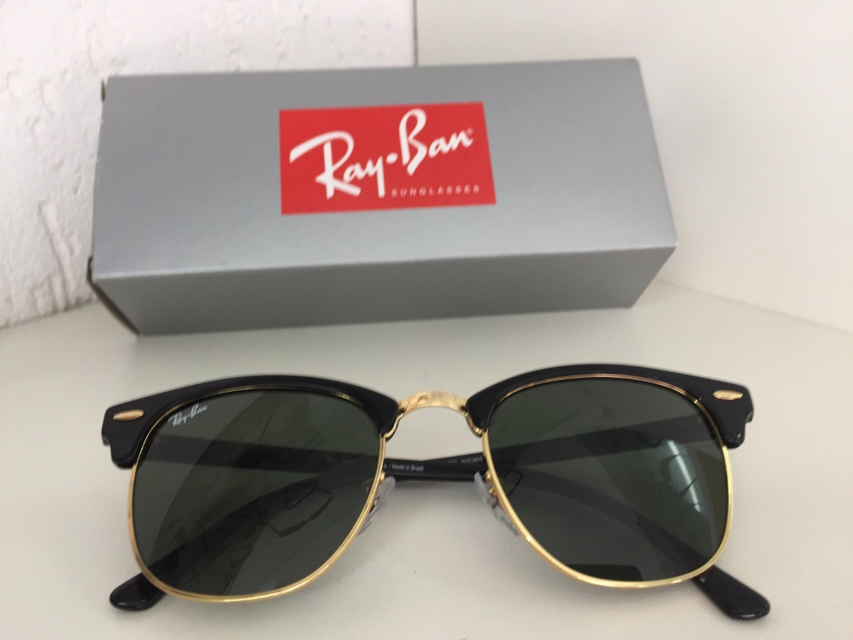 f1cb34b2d41a5 Óculos Ray Ban Clubmaster Preto Rb3016 Original Lente G-15 - R  500 ...