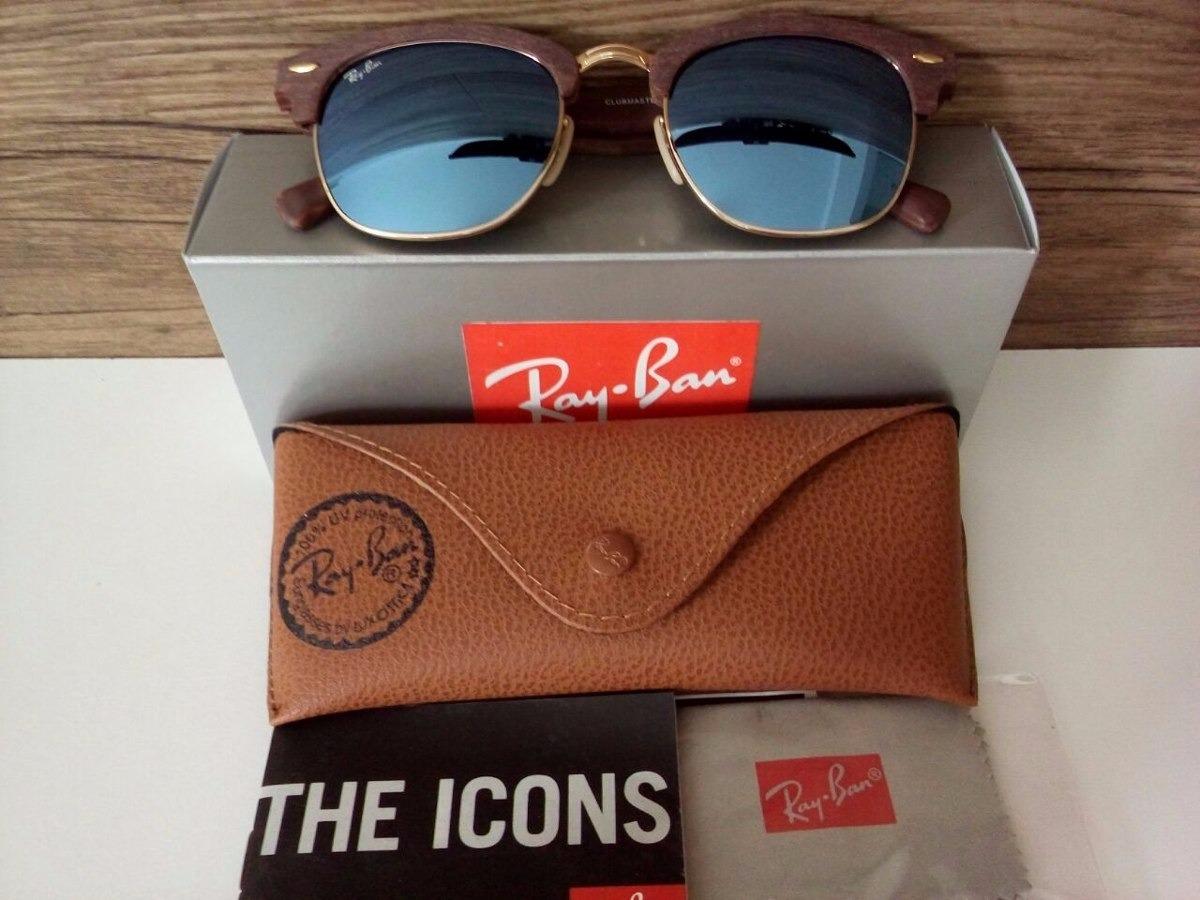 670d3d718e5a4 ... new zealand óculos ray ban clubmaster wood madeira azul espelhado 3016  m. carregando zoom.