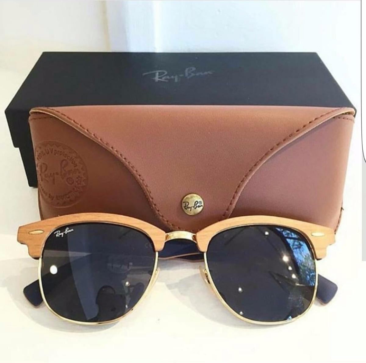 e6a5023513afb ... free shipping óculos ray ban clubmaster wood madeira preto 3016 m  original. carregando zoom.