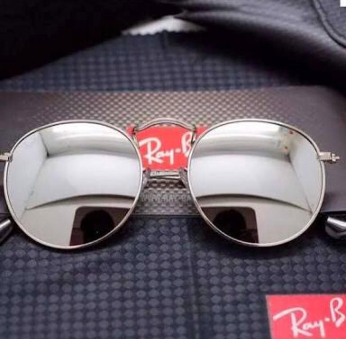 419660bef9482 óculos ray-ban feminino redondo prata usado poucas vezes. Carregando zoom.