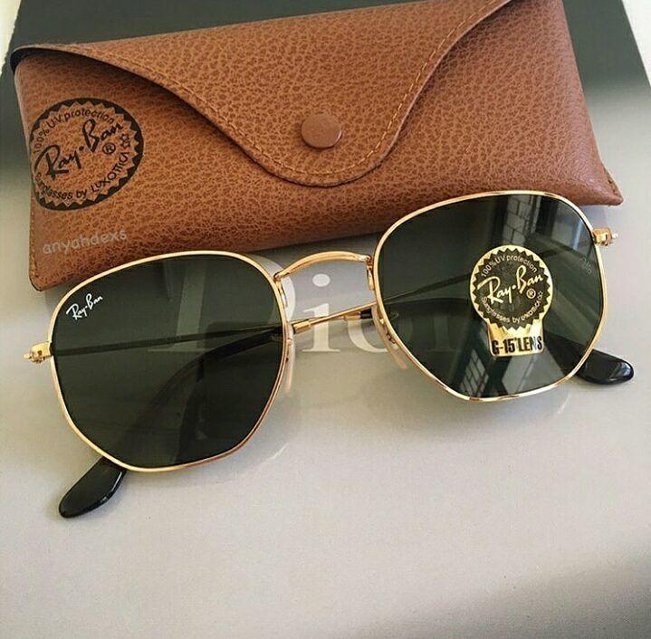 0110b80b8a8c4 Óculos Ray-ban Hexagonal Preto Com Dourado Rb3548 Original - R  229 ...