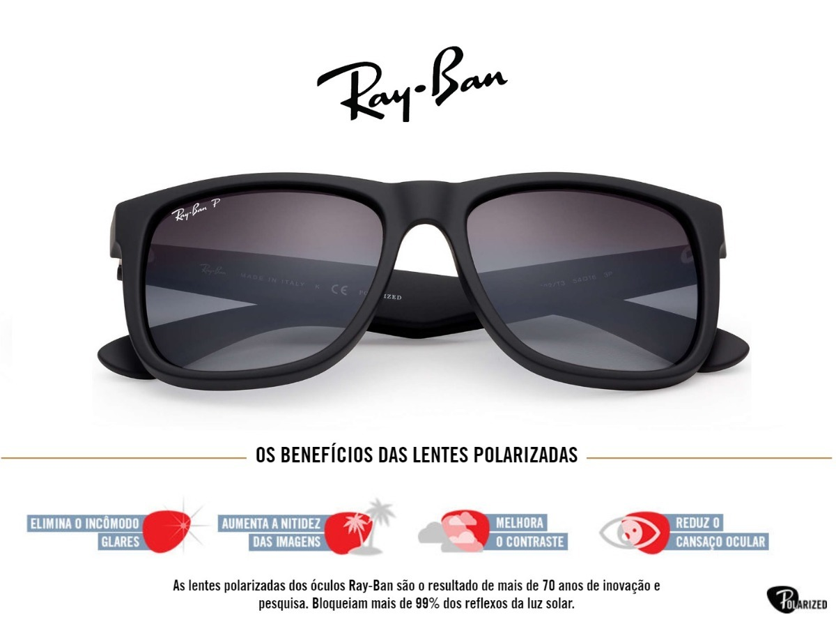 bc391f66adddc Óculos Ray-ban Justin Rb4165 Masculino Polarizado Original - R  219 ...