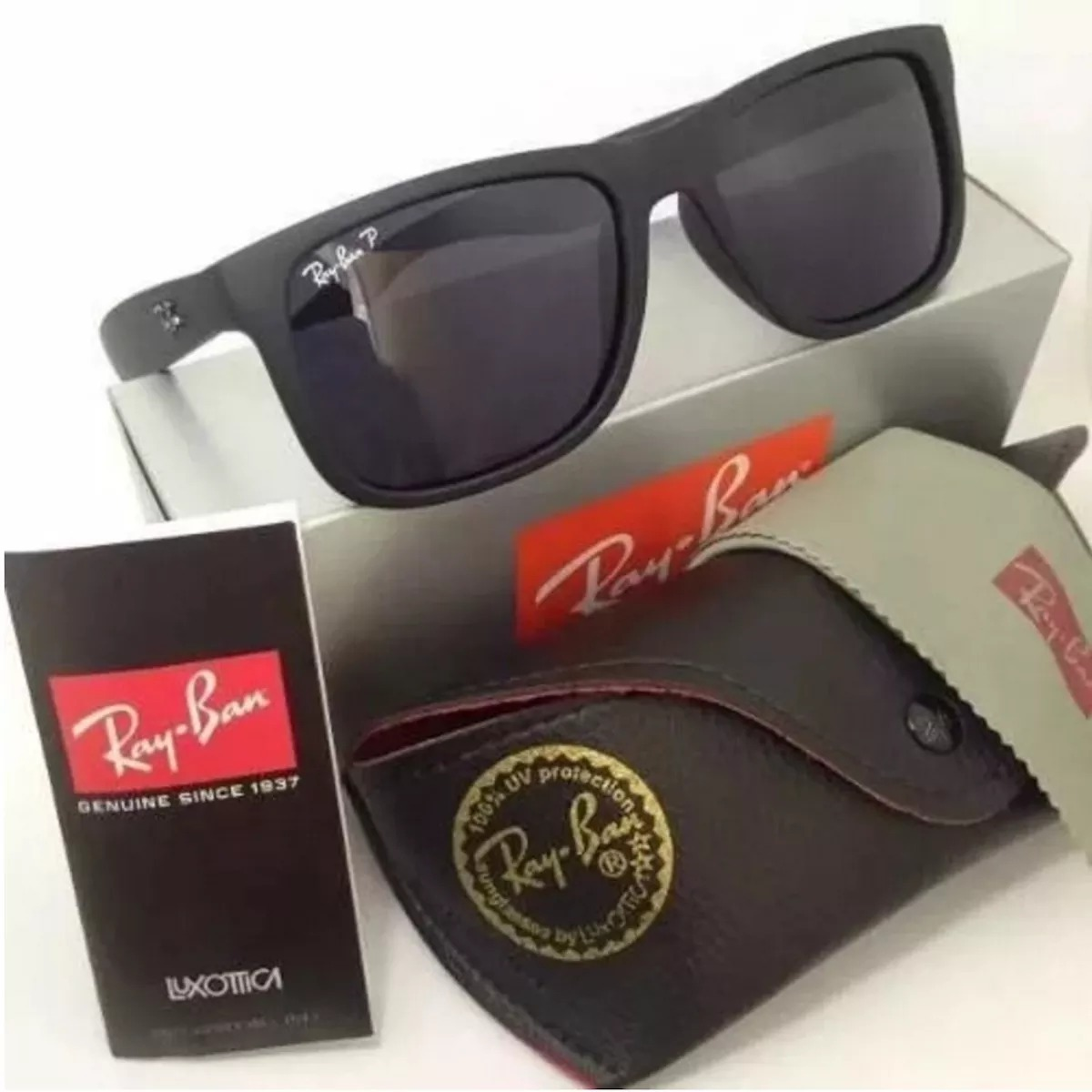 83eefed6db71c Óculos Ray Ban Rb 4165 Justin Preto Polarizado + Brinde - R  197,99 ...