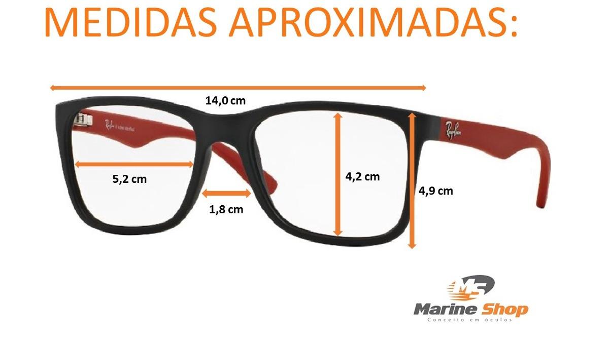 0b69c45c2bd06 Óculos Ray-ban Original Rb7057 L Justin Grau Haste Vermelha - R  369 ...