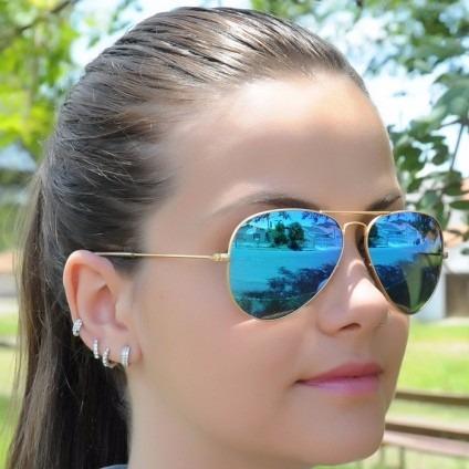 Óculos Ray Ban Rb3025-3026 Aviador Azul Espelhado Cristal - R  44,99 ... 64971c4297