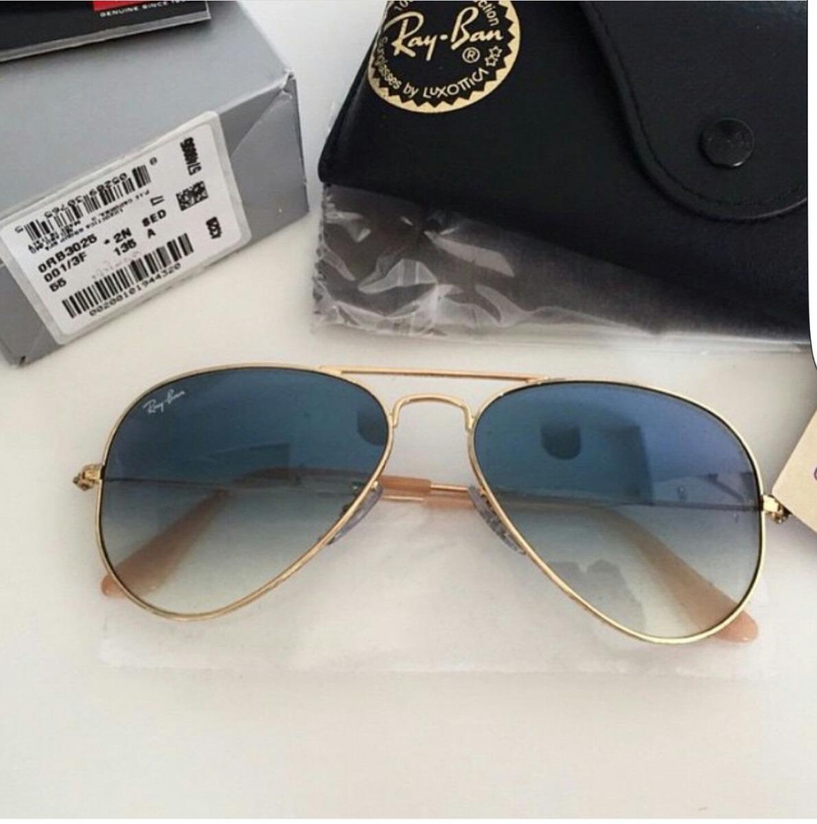 779b1e6c8 Óculos Ray-ban Rb3025 Aviador Azul Degrade M 58 - R$ 320,00 em ...