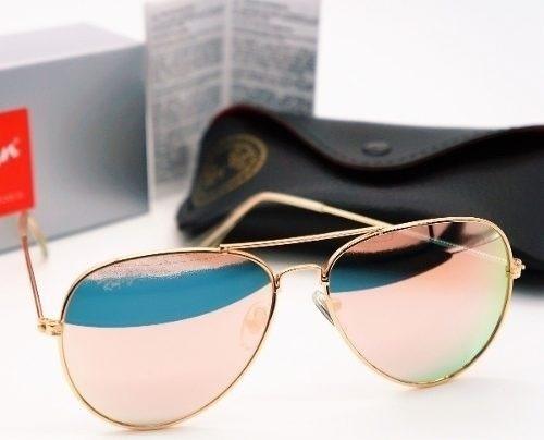 1edd5c100 Óculos Ray-ban Rb3025 Rb3026 Aviador Espelhado Dourado Rosê - R$ 219 ...