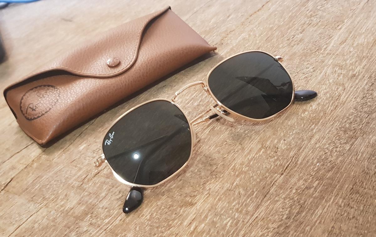 a9089799c346a óculos ray-ban rb3548 hexagonal preto dourado 51 original. Carregando zoom.
