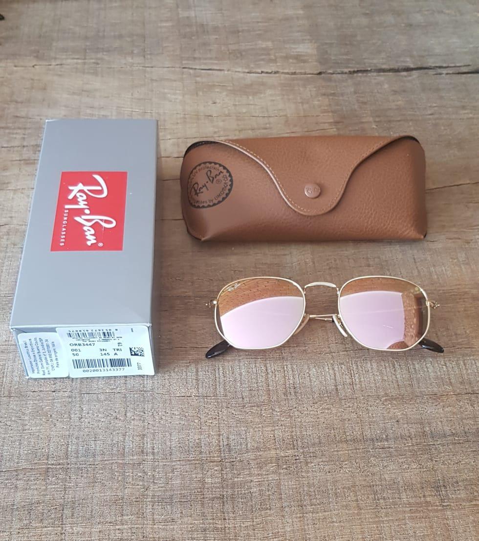 Óculos Ray-ban Rb3548 Hexagonal Rosa 51 - R  350,00 em Mercado Livre 34d1ea1cd1