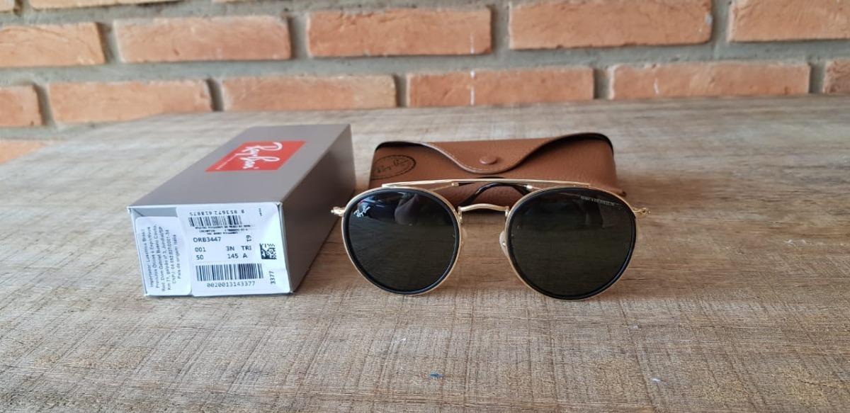 óculos ray ban rb3647 round double bridge g15 com dourado. Carregando zoom. ddeb3ff66a834