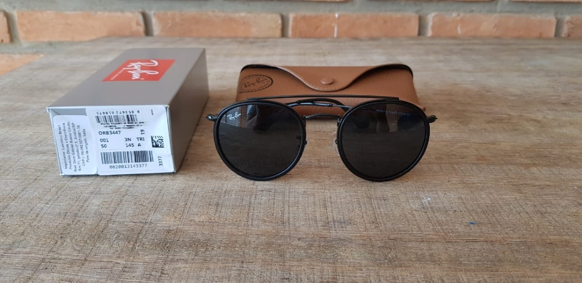 c73c699b41 óculos ray-ban rb3647 round double bridge preto black friday. 2 Fotos