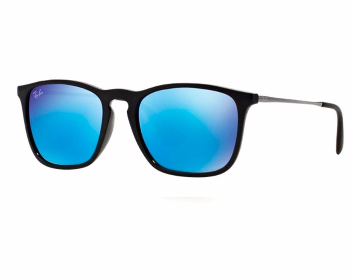 Óculos Ray-ban Rb4187 Chris Original Preto Azul Espelhado - R  349 ... 20107084df