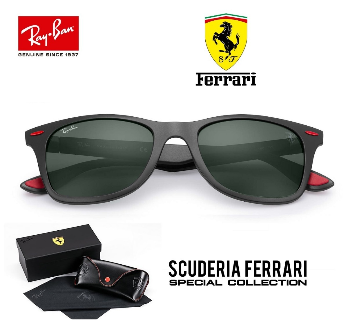 Óculos Ray Ban Rb4195 Wayfarer Liteforce Ferrari - R  299,00 em ... 5af23093d8