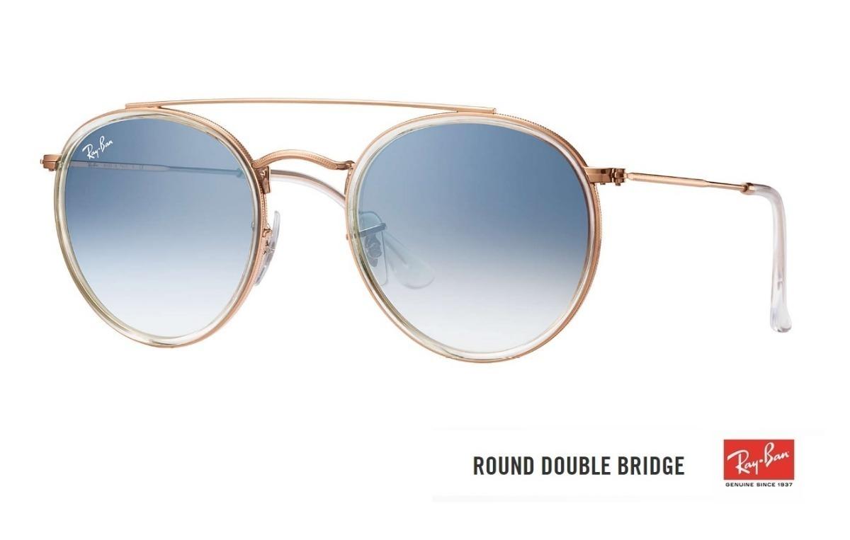 óculos ray ban round double bridge 3647 original azul degrad. Carregando  zoom. 013e275e1e