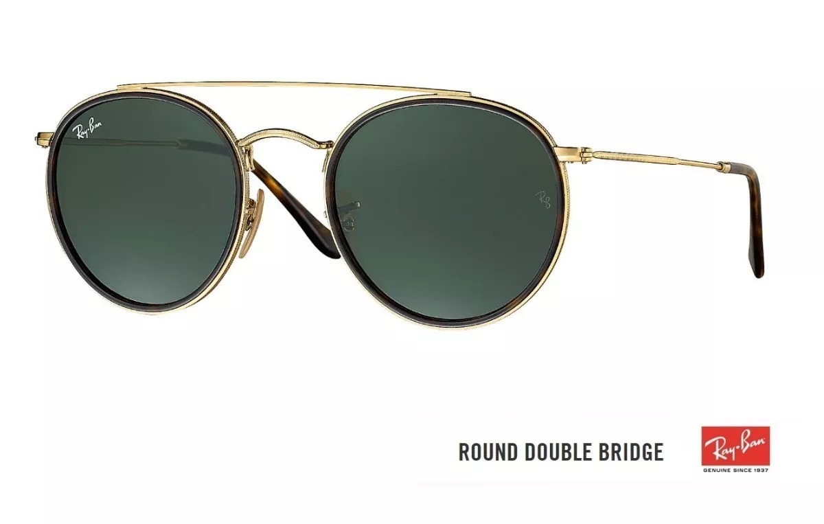 e4a9b462551 Óculos Ray Ban Round Double Bridge 3647 Original Verde G15 - R  249 ...