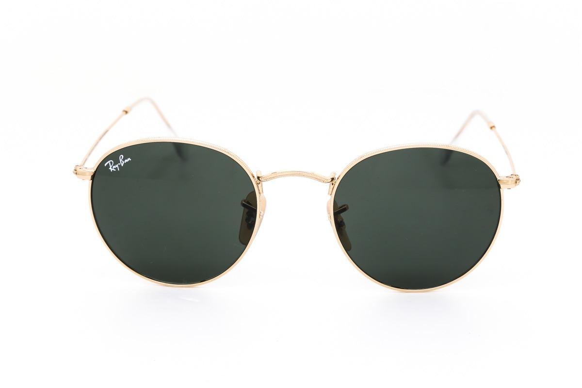 df67085ec85f7 óculos ray-ban round metal dourado verde original unissex. Carregando zoom.