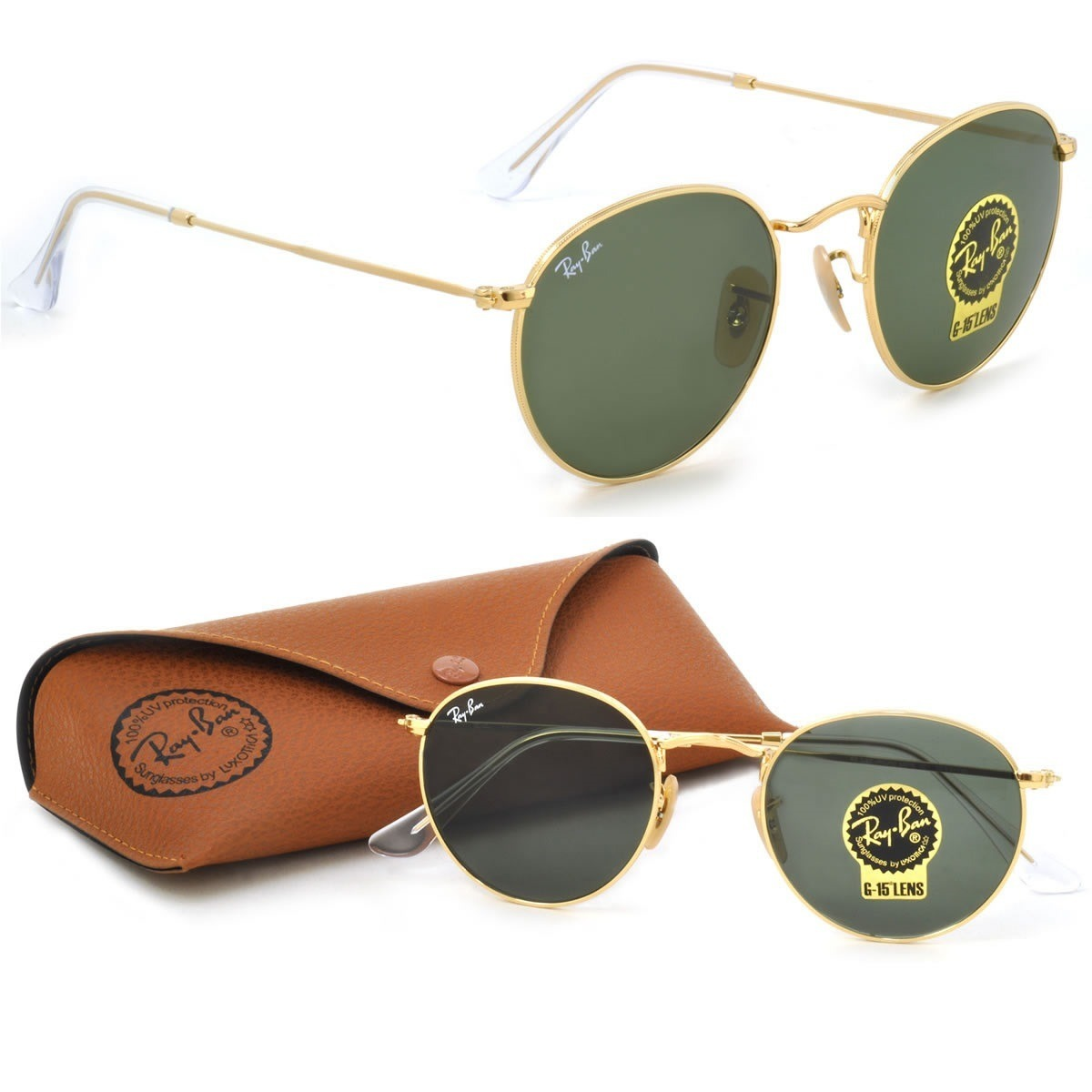 76bd4022a Óculos Ray-ban Round Metal Dourado Verde Original Unissex - R$ 89,90 ...