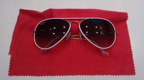 fd175a4be Óculos Ray Ban Top Aviador Luxottica Original Branco Com Dou - R ...